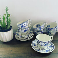 VTG 14PC Set Johnson Brothers Indies Tea Cup Saucer Swirl Blue White Ironstone
