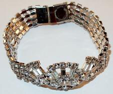 VINTAGE SILVERTONE RHODIUM CLEAR RHINESTONE NAVETTES BAGUETTES CHATONS BRACELET