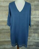 Catherines Dolman Sleeve Knit Tunic Top Crochet Hem Blue Plus Size 0X 14/16W NWT