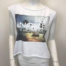 River Island Ladies White Photo Print Short Cropped Sleeveless Vest UK Size 8