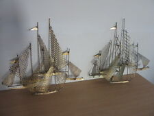 William Bowie Mid Century abstract metal wall sculpture Pair sailing ships boats
