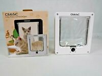 """CEESC Pet Door for Cats, Small Dogs (Outer Size 8.5"""" x 7.5""""), 4 Way Locking NEW"""