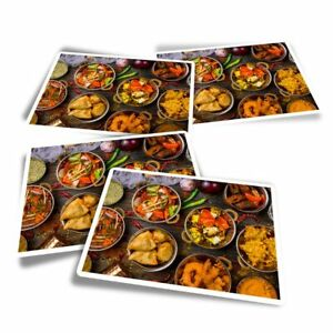 4x Rectangle Stickers - Colourful Indian Food Curry  #2657