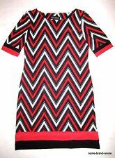 KARIN STEVENS Black Red White Chevron DRESS Womens 8 Classy Career Wear NEW