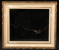 Antique Wood Picture Frame White Gilded Gesso 15.75 x 13.75