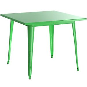 """24"""" Square Green Metal Garden Patio Restaurant Dining Table For Outdoor Use"""