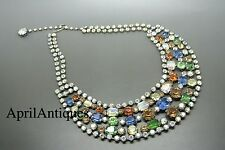 Vintage Vendome rare aurora borealis rainbow-coloured rhinestone bib necklace