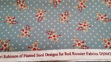 New-100% Cotton-Red Rooster Fabrics-Vintage Floral and Polka Dot Design