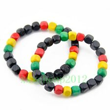 2pcs fashion Rasta Reggae wood bead elastic bracelet S-223