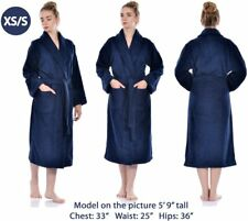 Bathrobe Men Women Unisex Turkish Cotton Terry Spa Soft Towel Bathroom - NAVY