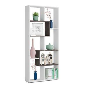 Estantería librería de diseño comedor salón u oficina, Blanco y Oxido, Kawa