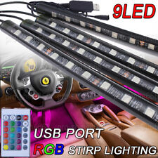 9 Led Rgb Car Interior Atmosphere Footwell Strip Light Usb Charger Decor Lamp