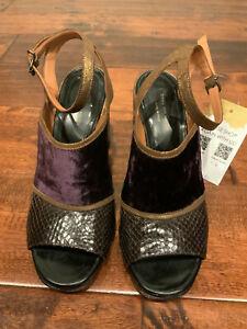 Dries Van Noten Purple Velvet, Bronze & Brown Block Heels, Size 7 (US), 37 (EU)
