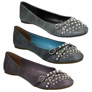UPDATE LADIES SLIP ON FLATS BALLERINA PUMPS ROUND TOE STUDDED DOLLY SHOES L4R890