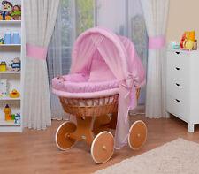 WALDIN Baby Bollerwagen,Stubenwagen,komplett mit Zubehör,XXL,Stoffe Rosa/kariert