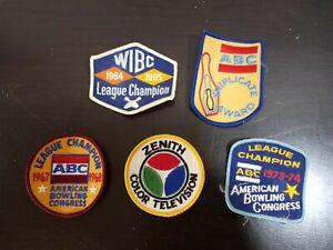 Vintage League Bowling Patches Lot of 5