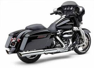 "Cobra 4"" 909 Twins Slip-On Chrome Mufflers Slash-Down Exhaust Harley Touring 17+"