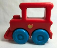 1991 FISHER PRICE Toddler Toy Rattle TRAIN 1451 Red Blue Wheels Rolls