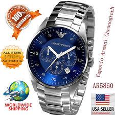 100%Authentic Emporio Armani AR5860 Quartz Chronograph Blue Dial Men's Watch