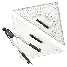 Navigationsbesteck mit Marinezirkel + 2 Dreiecke (27cm) # Navigation Kursdreieck