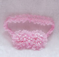 New Girls Flower Christening Party Lace Headband in White,Blue,Pink,Yellow