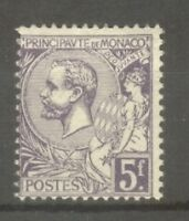 "MONACO STAMP TIMBRE N° 46 "" PRINCE ALBERT 1er 5F VIOLET "" NEUF xx TB"
