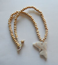 """Necklace & pendant-agate dolphin-beige beads-18"""" long -pretty"""