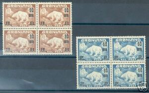 GREENLAND POLAR BEAR OVERPRINTS BLOCKS OF FOUR MINT NH
