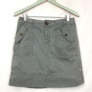 Banana Republic Cargo Skirt 2 Gray/Green Safari Short Pockets 30x18 Stretch