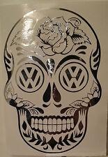 12.5x18cm CHROME Sugar candy Skull VW T25 T4 T5 camper sticker vinyl sidestripe