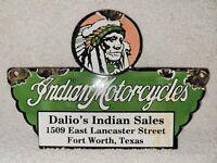 Vintage Indian Motorcycles Porcelain Dalio's Sales Texas Gas Oil Dealer Sign