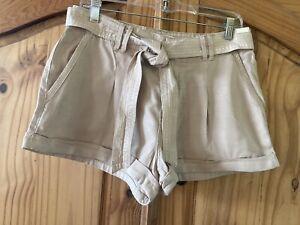Juniors Abercrombie Tan Khaki Cuffed Hem Belted Chino Shorts Size 30 - NWT