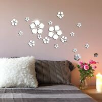 S-L Flower Shape Acrylic Crystal Mirror Wall Sticker Removable Decal Home Decor