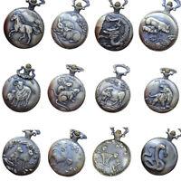 Vintage Retro Pocket Watch Animal Pendant Vintage Quartz Necklace Steampunk