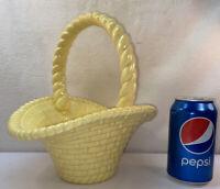 Vtg 70's? Ceramic Art Yellow Flared Basket Weave Handle Planter Vase Fruit Bowl
