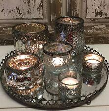 28cm métal miroir plateau tea light candle holders table centre de noël vintage