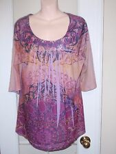 One World Purple Pink Sublimation Hippie Gypsy Peasant Boho Blouse Top  L XL