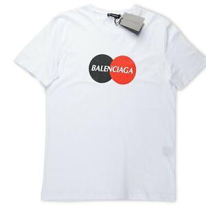 Balenciaga T shirt White Color 2 Circle Logo Crew Top S size new Mens