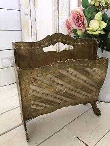 STUNNING Vintage Old Wooden Toleware Florentine Wooden  Painted Magazine Rack