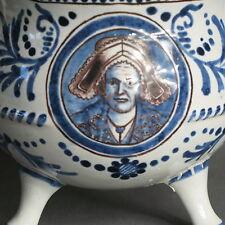 Beau pot or skillet in polychrome earthenware of Grenoble Edmond delayal