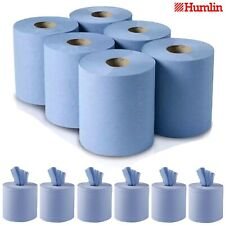 More details for 6/12/24 pack centre feed rolls embossed blue hand towels office workshop 2ply