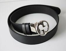 GUCCI 449715 GÜRTEL Ledergürtel UNISEX Gr. 85 schwarz braun silber