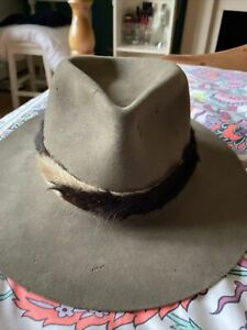Vintage Dorian Hat With Real Fur Trim 57cm