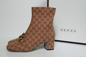 New sz 6 / 36 Gucci Ruggine GG Logo Canvas Brown Mid-Heel Ankle Boot Shoes