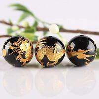 5pc Black Agate 14mm Stone Gemstone Carved Golden Dragon Ball Loose Spacer Beads
