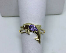 Dolphin Ring pear shaped purple Tanzanite diamond accent 10 karat yellow gold