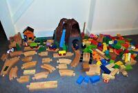 Large Wooden Bundle of Track Trains Mountain Trucks Station Building Blocks Toys