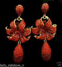 Gorgeous Rose Flower Pierced Dangle Earrings Red Rhinestone Crystals Austrian Cr