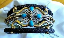 CAROLYN POLLACK/AMERICAN WEST LEATHER/STERLING SILVER/BRASS AND TURQUOISE CUFF
