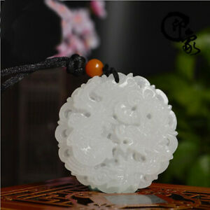 10pcs Natural white jade hand-carved dragon pendant